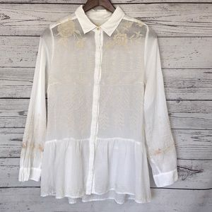 JOHNNY WAS White Blouse Ivory Embroidery Size Med